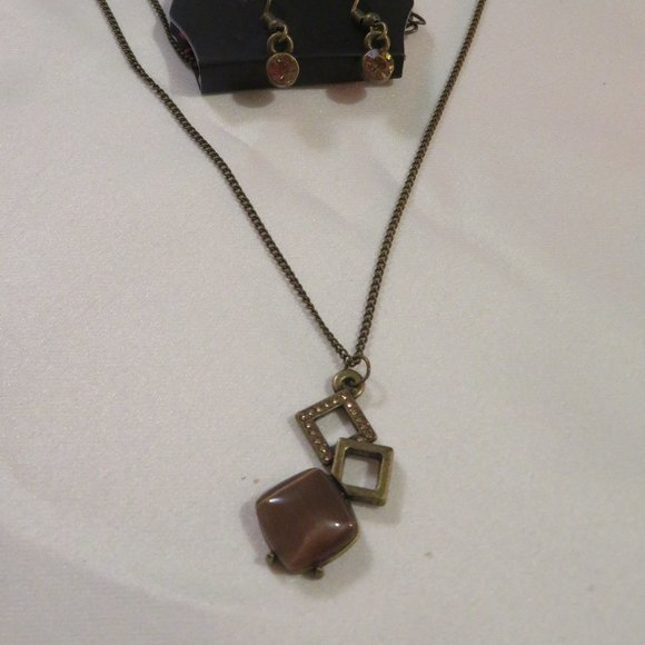 Paparazzi Amber Rhinestone and Brown Moonstone Necklace w/ Earrings (PK13)